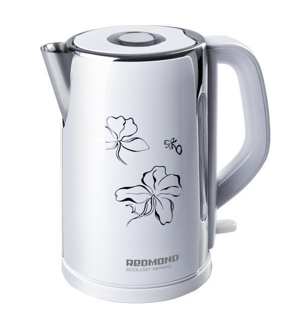 Redmond RK-M131, White электрический чайникRK-M 131 белыйRedmond RK-M - это современный электрический чайник, который отличается простотой использования и непревзойденной надежностью. Он имеет индикатор уровня воды, который позволяет контролировать его объем. Тип нагревательного элемента - закрытая спираль. Благодаря этому значительно сокращается образование накипи, что продлевает срок службы чайника, а так же обеспечивает его легкую очистку. Пользоваться данным электрочайником абсолютно безопасно. Блокировка крышки препятствует открытию работающего чайника.