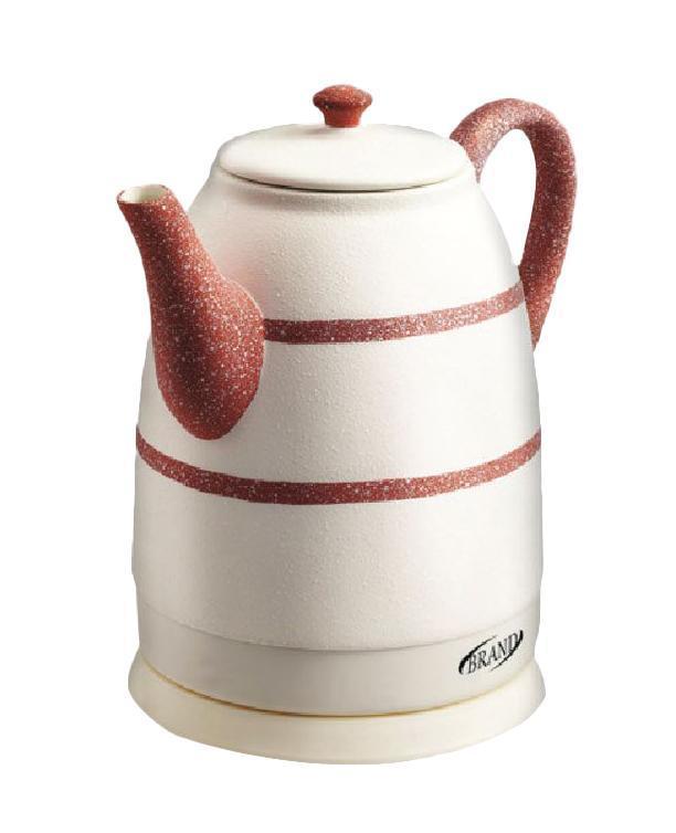 Brand 403R, Red электрочайник403R, RedКерамический чайник Brand 403R благодаря своему оригинальному дизайну станет настоящим украшением кухонного стола. Белый корпус с красным рисунком будет замечательно смотреться в любом интерьере. Более того, керамика является экологически чистым материалом, что исключает образование вредных веществ в процессе кипячения. Вы не почувствуете ни малейших посторонних запахов и привкусов. Особенности: Экологически чистый керамический корпус. Изящный дизайн. Продолжительное сохранение тепла. Скрытый нагревательный элемент. Автозащита при отсутствии воды, при выкипании и от перегрева. Вращение на 360 градусов. Отсек для шнура питания. Экономное энергопотребление.