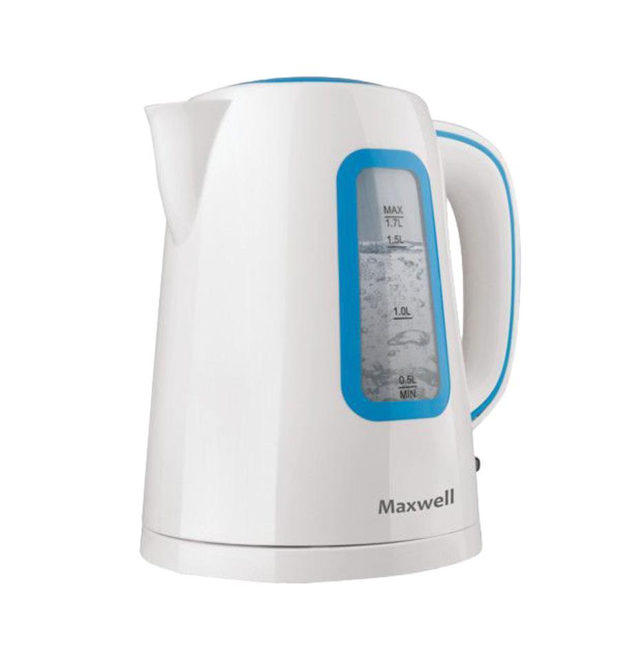 Maxwell MW-1052, Blue электрочайникMW-1052, BlueЧайник MAXWELL MW-1052 B – прекрасный выбор для каждой семьи! Пластиковый корпус устройства устойчив к воздействию воды и высокой температуры, что гарантирует большой срок эксплуатации изделия. Плоское дно, скрытый нагревательный элемент – все это позволяет удобно ухаживать за чайником. Вращение в любую сторону на подставке дает возможность ставить чайник так, как вам комфортно. Включение устройства осуществляется кнопкой, которая расположена в нижней части корпуса. При этом отключается чайник автоматически при закипании воды.