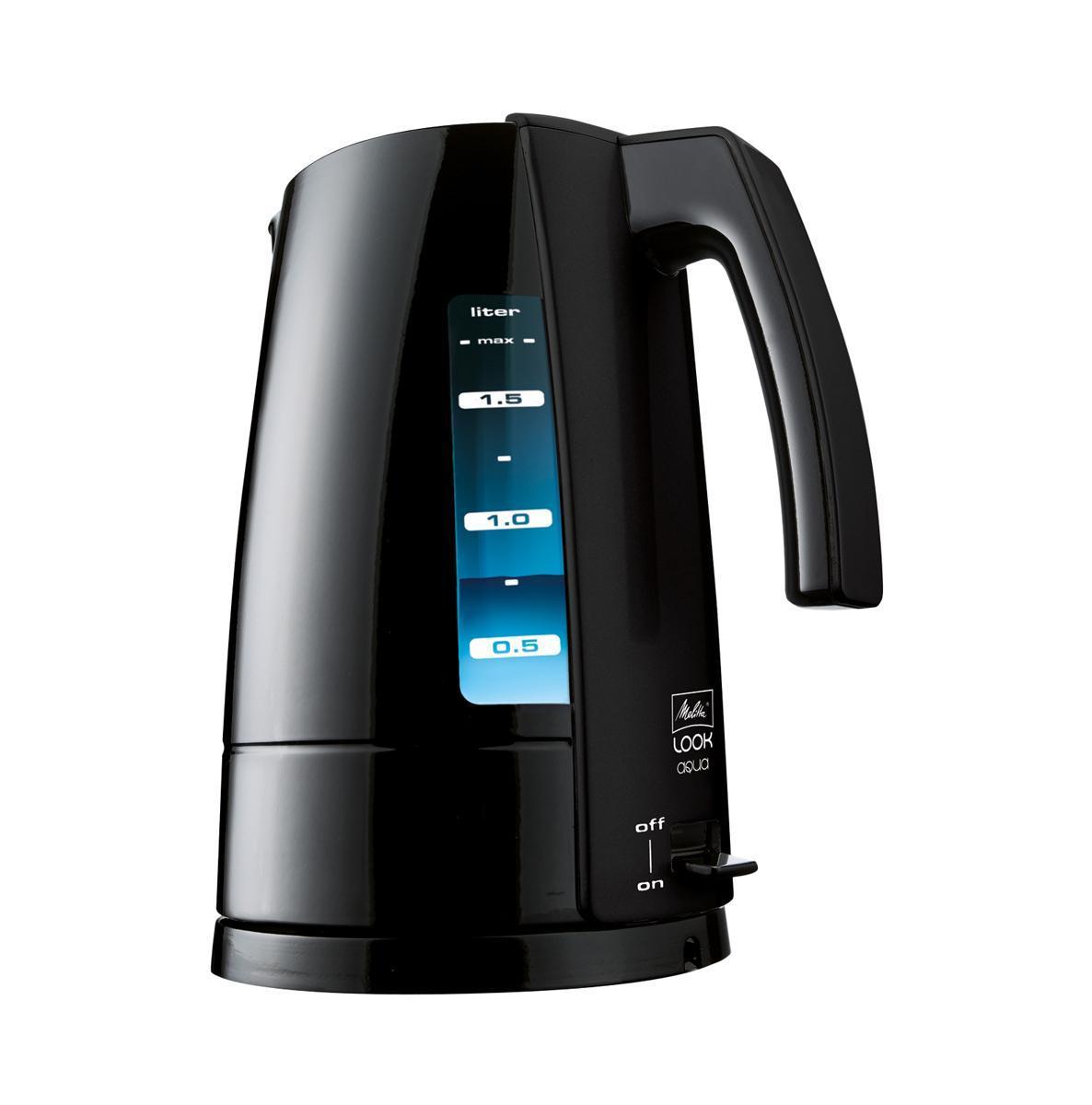 Melitta Look Aqua Basic, Black электрочайникLook Aqua Basic, BlackMelitta Look Aqua Basic - современный чайник для все й семьи. Включенная синяя подсветка чайника означает, что Look Aqua подогревает/кипятит воду для вашего чая. Подсветку воды видно с двух сторон чайника через шкалу мерных делений. Чайник Melitta Look Aqua Basic оригинальная и стильная модель, незаменима на любой кухне.