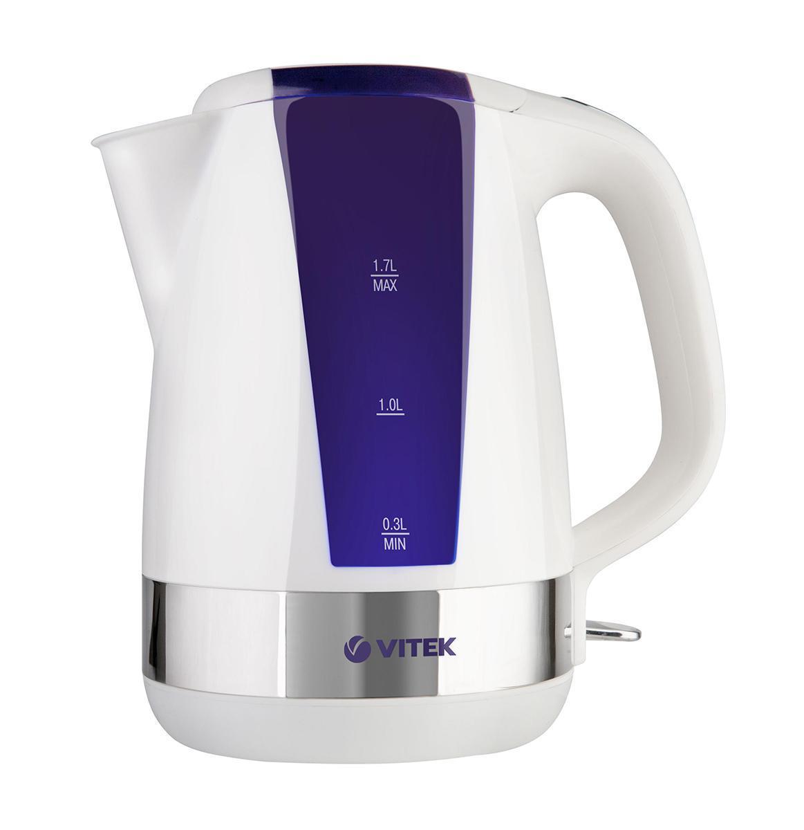 Vitek VT-1165, Violet электрочайникVT-1165, VioletЭлектрический чайник VT-1165 VT - это удобный и легкий в обращении прибор, который украсит вашу кухню благодаря оригинальному дизайну корпуса. Корпус чайника выполнен из высококачественного пищевого пластика, материала, который не меняет вкуса воды. Основание корпуса украшено оригинальной металлической вставкой, что придает прибору еще больше изящества. Чайник оснащен всеми необходимыми для качественной работы функциями. Мощность чайника 2200 Вт и объем 1,7 л позволяют быстро вскипятить воду и угостить вкуснейшими горячими напитками большую компанию гостей. Наличие специального фильтра позволяет сохранить чистоту воды, предотвращая попадание в напиток мелких частиц. Использование в чайнике скрытого нагревательного элемента поможет безопасно кипятить даже небольшое количество воды, а также легко ухаживать за прибором. Определить количество воды позволит шкала уровня воды на корпусе чайника. Прибор оснащен также внутренней подсветкой, которая показывает, что чайник включен - это...