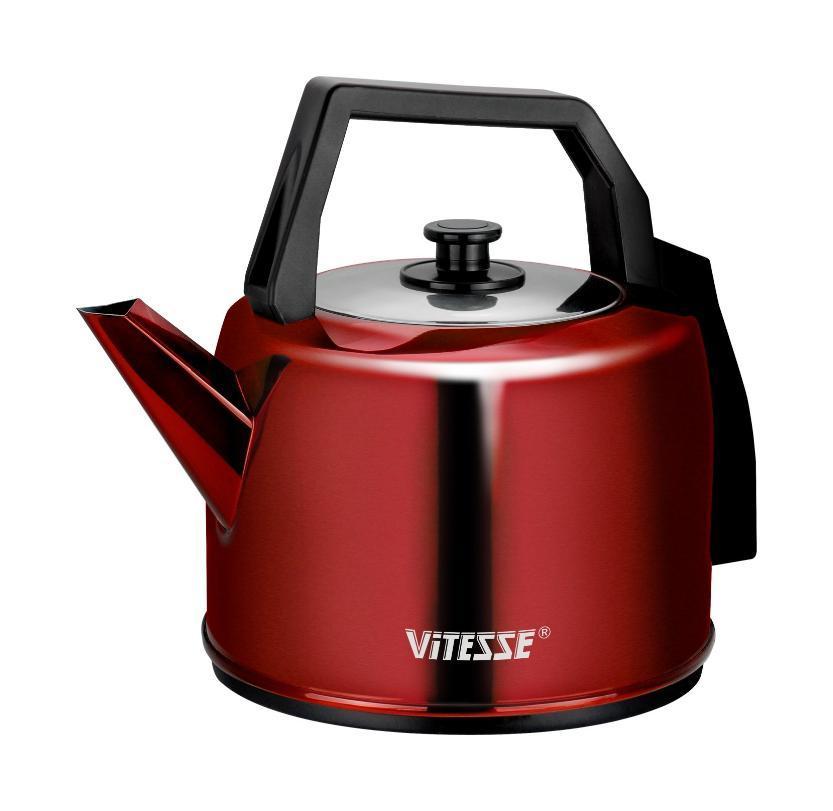 Vitesse VS-165 электрочайникVS-165Электрочайник Vitesse VS-165 – яркий, стильный, оригинальный! Мощность чайника в 2000 Вт позволит вскипятить 5 литров воды достаточно быстро. Причем, нагреваться чайник будет практически бесшумно. Индикатор включения сделает работу с прибором более удобной! Нержавеющая сталь, из которой изготовлен чайник, не допускает выделения вредных примесей.