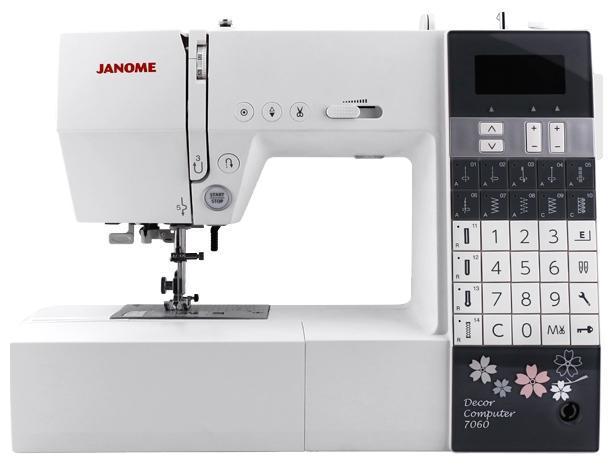 Janome DC 7060 швейная машинаDC 7060Компьютерная швейная машина Janome Decor Computer 7060 является продолжением полюбившейся Janome DC 6030. Она имеет более расширенный набор швейных операций, включающий: рабочие, трикотажные, оверлочные, декоративные строчки, строчки для работ в стиле квилтинг и 4 вида петель, выполняющихся в автоматическом режиме. Основные 14 швейных операций доступны для прямого выбора. В стандартную комплектацию входит коленный рычаг и расширительный столик.