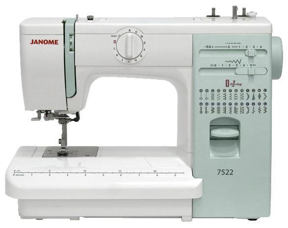Janome 7522 швейная машина7522Электромеханическая швейная машина Janome 7522 предлагает все необходимые функции для комфортного шитья. Встроенный нитевдеватель поможет быстро начать работу. Функция «петля-автомат» позволит Вам качественно и без проблем выполнить одинаковые петли. Для удобства шитья на панель нанесена разметочная линейка в сантиметрах и дюймах. А благодаря регулятору давления лапки на ткань Вы с одинаковой легкостью сможете шить как шелк, так и джинсу. Janome 7522 подойдет и для любителей шитья, и для новичков в швейном деле, которые хотят получить больше комфорта по доступной цене. Особенности серии ArtDecor Оригинальный дизайн в стиле пэчворк. Оптимальный набор швейных операций (ArtDecor 718A – 19, ArtDecor 724A/724E – 25). Строчки удобно расположены на уровне глаз. Теперь, переключая швейные операции, не нужно задумываться какие параметры строчки выставить. На панели с подсказками Вы увидите рекомендуемые: длину стежка, ширину строчки и натяжение верхней нити. Дополнительные принадлежности...