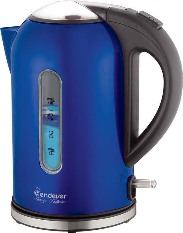 Endever Skyline 219S-KR, Blue электрочайник219S-KR BlueПри помощи электрического чайника Endever Skyline 219S-KR вы быстро вскипятите воду для чая или любого другого горячего напитка. И при этом не важно, сколько воды налито в чайник. Несмотря на то, что металлический корпус нагревается при использовании устройства, ручка из термостойкого пластика всегда остается холодной, что исключает возможность обжечься при наливании воды в чашку. Чайник выполнен в классическом дизайне, что позволяет гармонично разместить его в любом интерьере.