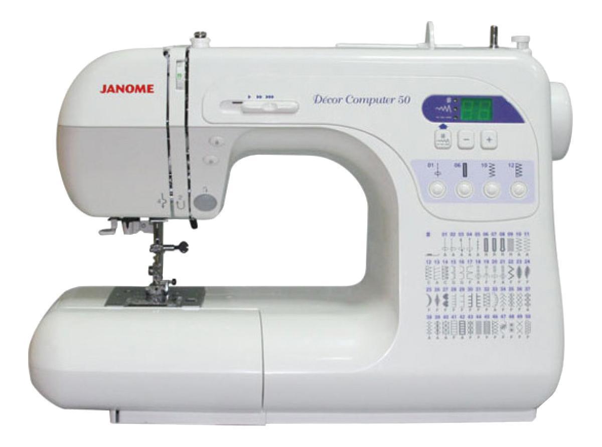 Janome DC 50 швейная машинаDC 50Машина DC 3050 оснащена полным набором функций для идеального исполнения Ваших декоративных и швейных проектов. С компьютерной точностью изготовление любых швейных изделий становится легким и быстрым. Выбор стежков происходит за одно мгновение с помощью большого светового дисплея. Компьютерная швейная машина DC 3050 сочетает в себе качество стежков Janome и умеренную цену. Отличительные особенности: 47 стежков, включая фамильные и стежки для квилтинга 3 вида петель: прямоугольная, круглая, с глазком Диапазон тканей от кожи до шелка Автоматическая регулировка натяжения нити Отключение механизма подачи ткани Плавная регулировка предела скорости шитья на корпусе машины Встроенный нитевдеватель Кнопка подъема/ опускания иглы Точечная закрепка Максимальный подъем лапки 13 мм Съемная рукавная платформа Мгновенный выбор стежков Жесткий чехол