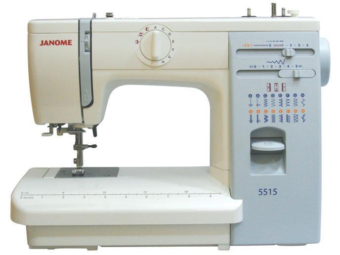 Janome 5515 швейная машина5515 (аналог 415)Практичная и надежная швейная машинка, завоевавшая популярность у пользователей надежностью и простотой в использовании, настройке и обслуживании. Уже несколько лет является одной из самых популярных недорогих швейных машин JANOME.