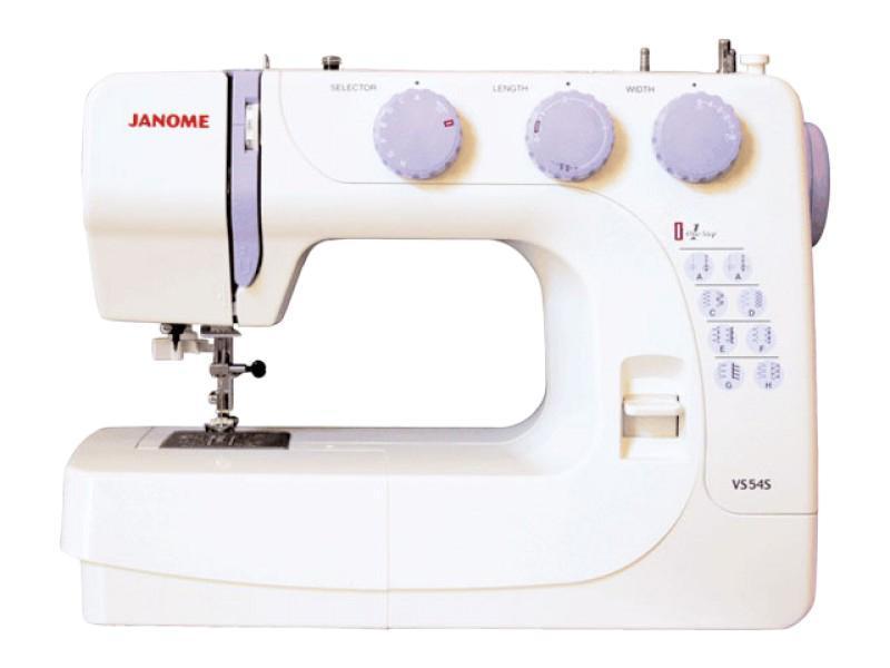 Janome VS54S швейная машина54SКлассическая модель механической швейной машины новой серии VS - Janome VS 54s. Работает с различными видами современных тканей. Идеально подходит для начинающих и любителей шитья.
