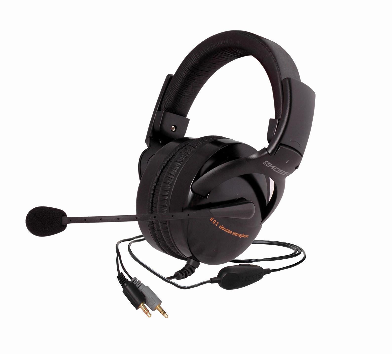 Koss HQ2HQ/2KOSS HQ2 – это совершенные игровые наушники с с эффектом присутствия, оснащенные шумоподавляющим микрофоном, что позволяет общаться в командных играх. Главная особенность данной гарнитуры – функция встроенной вибрации. Частоты ниже 100 Гц, помимо собственно звука, переводятся также в вибрации, дающие незабываемое ощущение физической динамики.