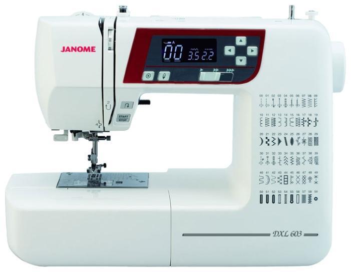 Janome 603 DC швейная машина603Новинка! Стильная и компактная швейная машина Janome 603 DC. Машина оснащена полным набором декоративных и швейных функций. С компьютерной точностью, изготовление любых швейных изделий становится легким и быстрым. Машина понравится как профессионалам, так и любителям пэчворка и квилтинга. Используя уникальную угловую шкалу на игольной пластине, можно легко прошивать части пэчворка, под нужным углом. Janome 603 DC - отличная модель!