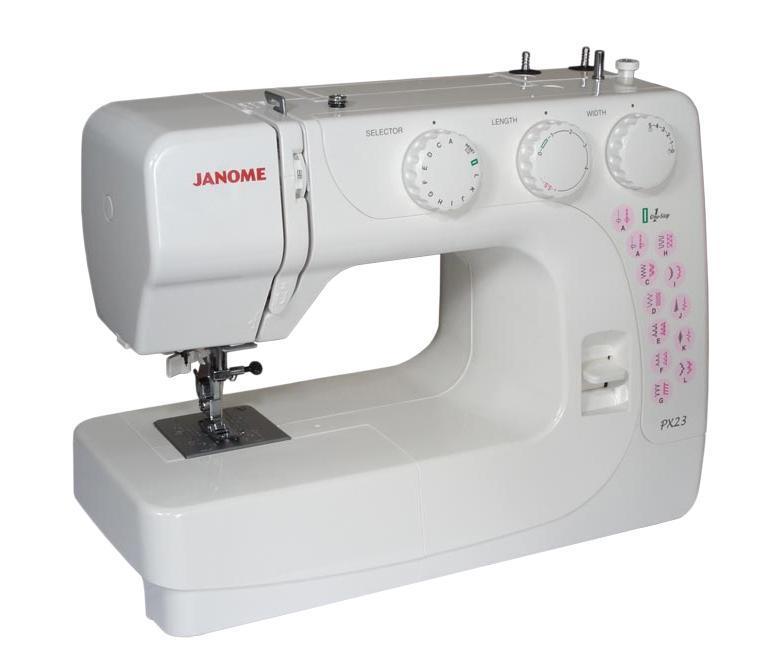 Janome PX-23, White швейная машинаPX23Компактная электромеханическая швейная машина Janome PX-23 выполняет 23 видов строчек и петлю в полу автоматическом режиме. Машина хорошо справляется с различными типами тканей. Достаточная функциональность швейной машины Janome PX-23 для использования ее не только для ремонта одежды, но и для пошива изделий из различных тканей и материалов. Мощный двигатель и металлическое основание швейной машины Janome PX-23 позволят работать как с легкими, так и с тяжелыми тканями. Машина отличается хорошим качеством сборки, надежностью и удобным полноценным управлением. Вы сможете подшивать потайной строчкой, обрабатывать края, шить трикотаж, в технике пэчворка и квилтинга, украшать Ваши творения декоративными строчками. В швейной машины Janome PX-23 также имеется плавная регулировка длины и ширины стежков и автоматический нитевдеватель.