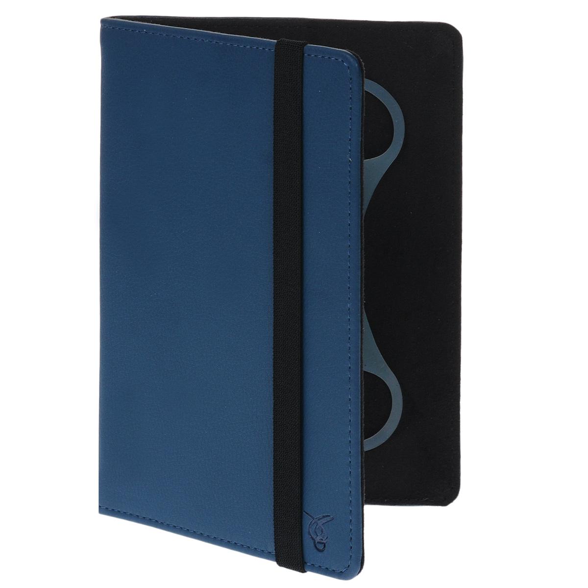 Vivacase Basic универсальный чехол-обложка для планшетов 7+, Blue (VUC-CBS07P-blue)VUC-CBS07P-blueУниверсальный чехол Vivacase с резиновым креплением, который подходит для любых популярных планшетов и электронных книг с диагональю дисплея в 7+ дюймов. Он изготовлен из ПУ-кожи которой обтянут прочный каркас, защищающий устройство во время падений. Внутренняя часть отделана мягкой подкладкой, которая не оставляет никаких следов на корпусе и дисплее. Каркас из тонкой и мягкой резины позволяет прочно и надежно закрепить устройство подходящего размера. Для того чтобы установить устройство в альбомной ориентации, удобной для просмотра видео или чтения, чехол имеет подвижную площадку и два углубления, которые позволяют зафиксировать планшет под двумя разными углами.