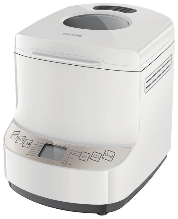 Philips HD9045/30 хлебопечьHD9045/30Вы полюбите этот незабываемый запах свежего теплого хлеба по утрам! Все так просто... вечером добавьте ингредиенты, установите таймер отсрочки старта на утро, и хлебопечь Philips HD9045/30 сделает все сама. 14 программ для выпечки хлеба, приготовления теста и даже варенья Хлебопечь Philips имеет 14 простых программ для выпечки любой сложности - от полезного цельнозернового до французского хлеба, хлеба без глютена и сладкой выпечки. В ней также можно испечь сдобу по оригинальным рецептам, например бородинский хлеб или пасхальный кулич, а также приготовить прекрасное пресное тесто или даже варенье. С хлебопечью Philips выпечка всегда будет вкусной и простой в приготовлении. Имеющиеся программы обеспечивают оптимальную температуру и время приготовления для различных видов выпечки. Если у вас мало времени, можно воспользоваться программой ускоренного выпекания или даже экспресс-выпекания, при которой выпечка будет готова за один час. 2 размера буханки, буханка...
