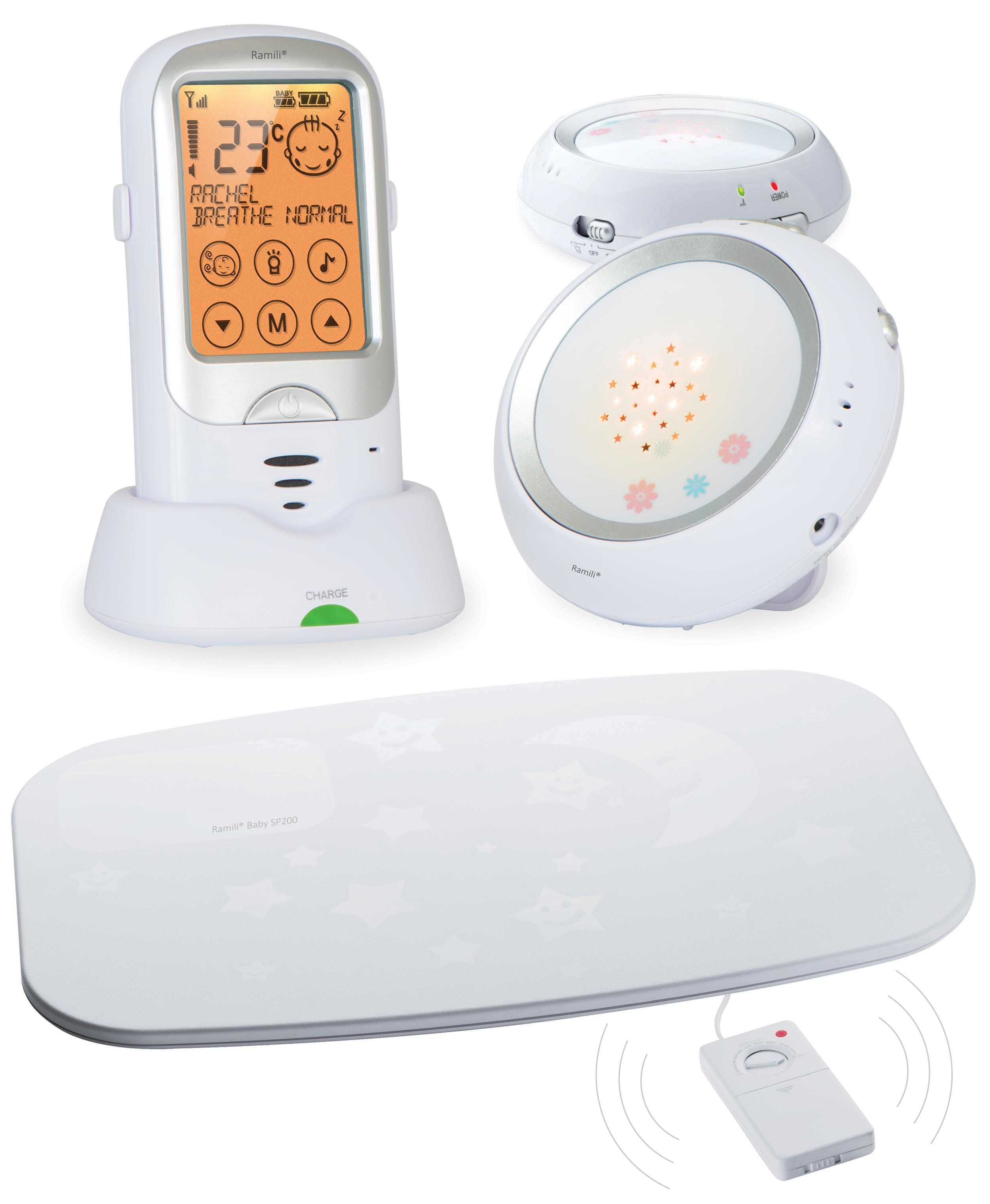 Радио-няня Ramili Baby с двумя детскими блоками и монитором дыхания RA300DuoSPRA300DUOSPРадио-няня Ramili Baby с двумя детскими блоками и монитором дыхания RA300DuoSP представляет собой радионяню, вобравшую в себя все передовые технологии. Она обеспечивает простое и удобное общение с ребенком, полностью безопасна, ее звучание является кристально чистым, а диапазон действия составляет расстояние до 650 метров. Устройство постоянно в автоматическом режиме мониторит расстояние между блоками и регулирует мощность передачи сигнала, тем самым продлевая срок службы аккумулятора. Радио-няня Ramili Baby с двумя детскими блоками и монитором дыхания RA300DuoSP включает в себя множество полезных, потрясающих возможностей, обеспечивающих высоким комфорт при использовании в повседневной жизни: сенсорный дисплей, автоматическое определение плача ребенка, двустороннюю связь, великолепный ночник с возможностью проецирования симпатичных звезд и многое другое. Два детских блока Онлайн мониторинг (прослушивание детской комнаты) Подключение...
