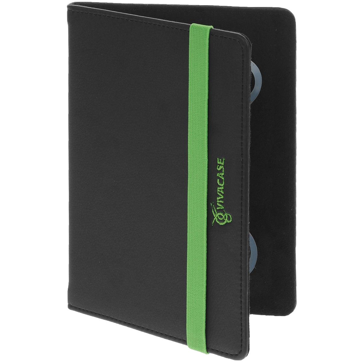 Vivacase Neon универсальный чехол-обложка для планшетов 7+, Black Green (VUC-CNN07P-bg)VUC-CNN07P-bgУниверсальный чехол Vivacase с резиновым креплением, который подходит для любых популярных планшетов и электронных книг с диагональю дисплея в 7+ дюймов. Изготовлен из прочной ткани. Она очень прочна, устойчива к истиранию и почти не пропускает влагу. Благодаря этому материалу и плотному каркасу ваше устройство будет надежно защищено от возможных неприятностей и прослужит вам максимально долго. Мягкая подкладка приятна на ощупь и предотвращает появление царапин на корпусе и дисплее. Закрытым чехол удерживает широкая резинка зеленого цвета, служащая ярким цветовым акцентом и выделяющая чехол на фоне других.