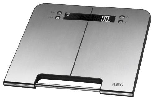 AEG PW 5570 FA Inox, 5 in 1 напольные весыPW 5570 FAAEG PW 5570 FA Inox, 5 in 1 - диагностические напольные весы с платформой из нержавеющей стали. Особенности: Память до 10 пользователей Единицы измерения: кг, lb, st Определение доли воды: 20-75% Определение доли жировой ткани: 1-60% Определение доли мышечной ткани: 10-50% Высококачественный дисплей большой четкости Автоматическое включение при наступании и автоматическое отключение Нескользящие ножки, ручка для переноски