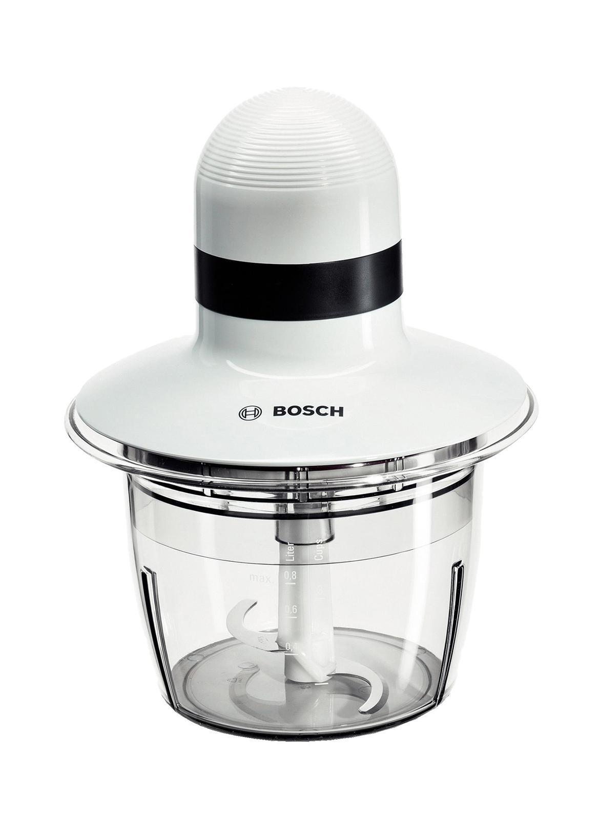 Bosch MMR08A1 измельчительMmr 08A1Простой в эксплуатации измельчитель Bosch MMR08A1 прекрасно подойдет для приготовления овощных салатов, соусов, а также многих других блюд. Чаша-измельчитель с рядом лопастных ножей для измельчения мяса, рыбы, овощей и пр. Компактная, объём не превышает 0.8 л. Чаша изготовлена из ударопрочного пластика, а нож - из нержавеющей стали. Мощность устройства составляет 400 Вт, а работа возможно только в одном режиме и с одной скоростью. При этом пользователь отдельно может активировать импульсный режим во избежание излишней нагрузки на мотор при нарезании твёрдых продуктов.