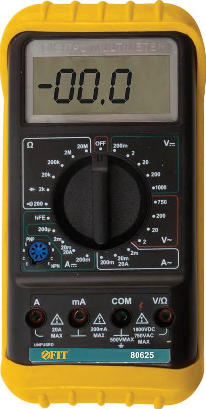 Мультиметр цифровой FIT. 8062580625Мультиметр цифровой FIT оборудован жидкокристаллическим дисплеем. Предназначен для измерения напряжения постоянного тока VDC, напряжения переменного тока VAC, постоянного тока DC и переменного тока АС, сопротивления, проверки диодов, целостности цепи. Это превосходный измерительный прибор, который удобен и прост в эксплуатации. Мягкий протектор с подставкой для защиты мультиметра и удобства использования. Индикация разряда батареи Диапазон измерения напряжения постоянного тока: 0,1 мВ - 1000 В Диапазон измерения напряжения переменного тока: 0,1 В - 750 В Диапазон измерения величины постоянного тока: 1 мкА - 20 А Диапазон измерения сопротивления цепи постоянному току: 0,1 Ом - 20 МОм Питание: от 1 батарейки 9 В (тип Крона)