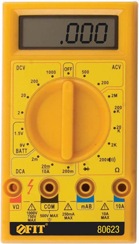Мультиметр цифровой FIT, 1000 В. 8062380623Мультиметр цифровой FIT оборудован жидкокристаллическим дисплеем. Предназначен для измерения напряжения постоянного тока VDC, напряжения переменного тока VAC, постоянного тока DC и переменного тока АС, сопротивление, проверки диодов, целостности цепи. Это превосходный измерительный прибор, который удобен и прост в эксплуатации.