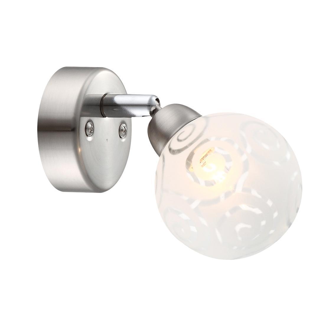 56392-1 Настенно-потолочный светильник ORLENE56392-1Бра (светильник настенный) Globo Lighting 56392-1 с 1м плафоном в форме шара матового белого цвета с рисунком в виде прозрачных спиралей закрепленный на круглом металлическом крепежном основании цвета матовый никель и 1ой лампой цоколя G9 макс. 28Ватт(230V) входящей в комплект.