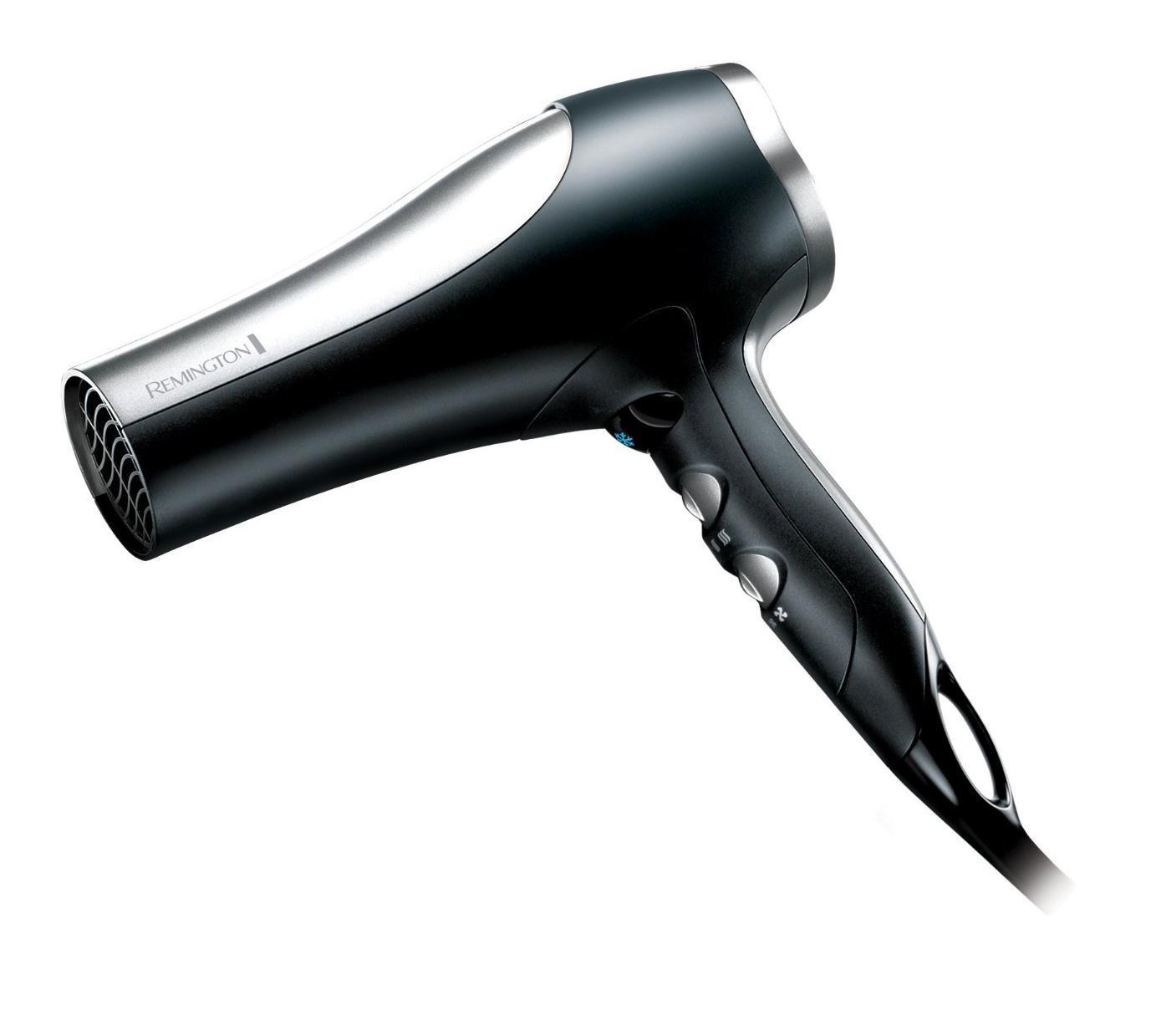 Remington D5017 Pro 2100 фенD5017Remington D5017 может по праву сравниваться с профессиональными моделями. Невероятно мощный - 2100 Вт, что позволяет развивать высокую скорость воздушного потока, тем самым ускорять процесс сушки. Это значит, что волосы принимают желаемую форму именно в результате намеренного воздействия феном, а не высыхают естественным путем, в произвольной форме. Удобным дополнением является возможность регулировать температуру и скорость водушного потока. Благодаря комфортной регулировке температуры и мощности этот фен подойдет для любого типа волос. Если у Вас здоровые и крепкие волосы - можно смело экспериментировать с насадками, и использовать различные режимы работы. В случае если же у Вас окрашенные, слабые или ломкие волосы, или же необходим бережный уход, по каким либо другим причинам, у этого фена найдется режим который подойдет именно Вам.