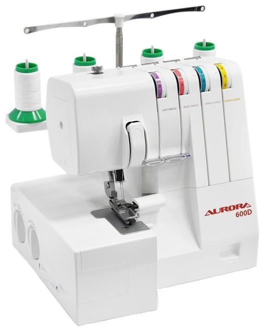 Aurora 600D оверлок600D4-x/3-x ниточный оверлок с дифференциальной подачей ткани и ролевым швом, мусоросборник, удобство заправки основного петлителя