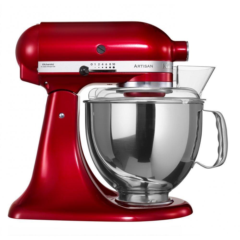 KitchenAid Artisan (5KSM150PSECA), Red Caramel миксер планетарный5KSM150PSECA RedВерный помощник на кухне – это миксер KitchenAid ARTISAN – высочайшее качество и прочность всех деталей. Уникальная объемная чаша на 4,8 литра совершенно не ограничивает ваши фантазии, позволяя творить чудеса. Смешивайте и растирайте, взбивайте и размалывайте, эта новинка привела в восторг лучших шеф-поваров Европы, и нашла применение на профессиональных кухнях лучших мировых ресторанов. Элегантный, надежный и простой в использовании, наш миксер предназначен для замешивания не только теста различной консистенции, но и многих других продуктов. Вместительная дежа на 4,8 л и мощность в 300 Вт полностью удовлетворяют ваши желания. Прочный и долговечный он будет долго радовать вас своей безупречной работой, а специальный защитный кожух не даст вам даже малейшей вероятности повредить руки.