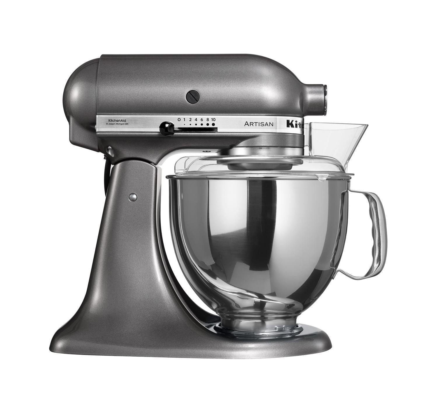 KitchenAid Artisan (5KSM150PSEMS), Grey миксер планетарный5KSM150PSEMS GreyВерный помощник на кухне – это миксер KitchenAid ARTISAN – высочайшее качество и прочность всех деталей. Уникальная объемная чаша на 4,8 литра совершенно не ограничивает ваши фантазии, позволяя творить чудеса. Смешивайте и растирайте, взбивайте и размалывайте, эта новинка привела в восторг лучших шеф-поваров Европы, и нашла применение на профессиональных кухнях лучших мировых ресторанов. Элегантный, надежный и простой в использовании, наш миксер предназначен для замешивания не только теста различной консистенции, но и многих других продуктов. Вместительная дежа на 4,8 л и мощность в 300 Вт полностью удовлетворяют ваши желания. Прочный и долговечный он будет долго радовать вас своей безупречной работой, а специальный защитный кожух не даст вам даже малейшей вероятности повредить руки.