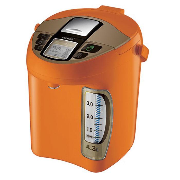Oursson TP4310PD/OR, Orange термопот7640152894138Термопот Oursson — универсальный прибор, совмещает функцию чайника и термоса. В этом устройстве можно не только вскипятить воду, но и длительное время поддерживать температуру, выбрав один из пяти температурных режимов. Таким образом, если Вам повторно захочется чая, кипятить не придется - вода в термопоте по-прежнему будет горячей. Да и наливать удобно - не надо устройство подымать, наклонять, достаточно просто нажать на кнопку. У этого прибора есть еще несколько плюсов: он потребляет мало электроэнергии, а объем как минимум в два раза больше, чем у стандартного чайника. Вам осталось только выбрать один из цветов представленной палитры и уточнить объем.