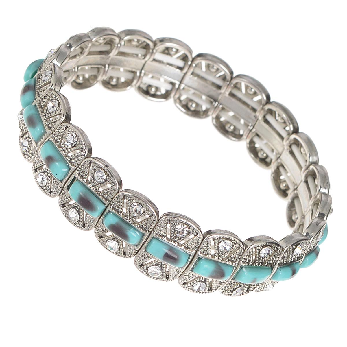 Браслет AtStyle247, цвет: серебряный, бирюзовый. T-B-8209-BRAC-SL.TURQUOIST-B-8209-BRAC-SL.TURQUOISИзысканный женский браслет AtStyle247 выполнен из металлического сплава меди, цинка и железа в серебряном цвете. Модель состоит из прямоугольных декоративных элементов, оформленных вставками бирюзового цвета, стилизованными под камни, и усыпанных стразами. Эластичная прочная резинка позволит идеально зафиксировать модель на руке. Это стильное украшение элегантно завершит модный образ и подчеркнет ваш утонченный вкус.