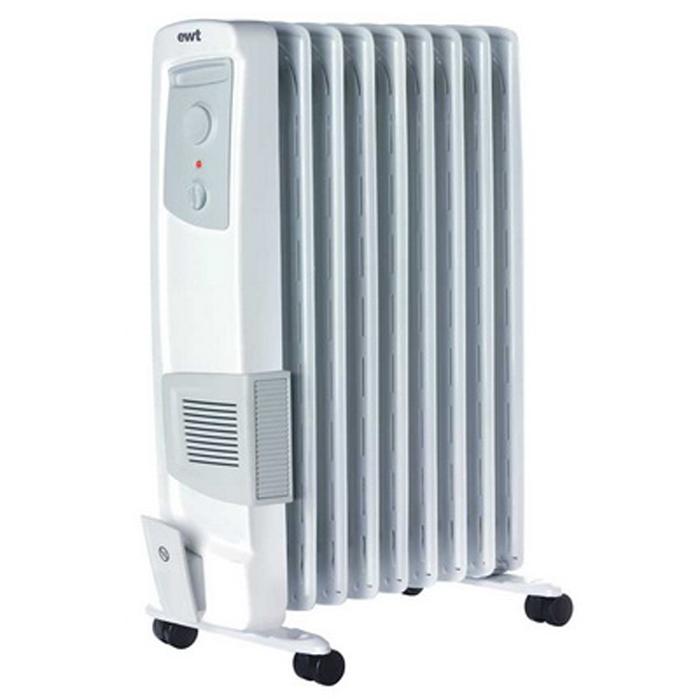 EWT OR 120TLG масляный обогревательOR 120TLGМасляный радиатор EWT OR 120TLG отлично подойдет для дома и дачи. Он оснащен регулируемым термостатом и турбовентилятором. Имеет ножки на роликах для комфортного передвижения.