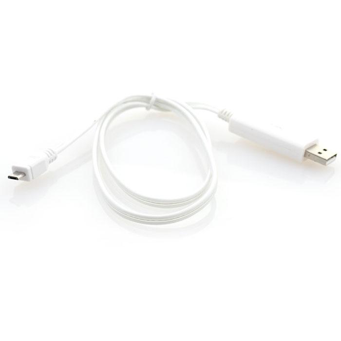 Gmini mCable MEL200, White кабель USBАК-00000517Кабель с подсветкой Gmini mCase MEL200 позволяет подключать к порту USB компьютера или зарядного устройства смартфоны, планшеты, телефоны, MP3-плееры, игровые приставки с разъемами microUSB. Во время подключения устройства по белому кабелю бегут огни синего цвета., а по черному кабелю - огни зеленого цвета. После полной зарядки устройства огни останавливаются.