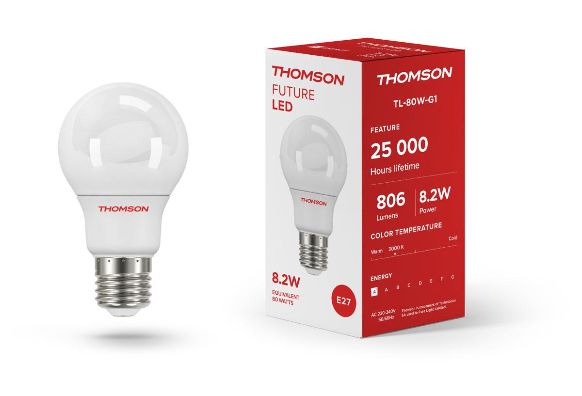 Лампа светодиодная Thomson TL-80W-G1, теплый свет, цоколь E27, 8,2W, 220V, шарTL-80W-G1Светодиодная лампа Thomson TL-80W-G1 отлично подойдет для домашнего использования.