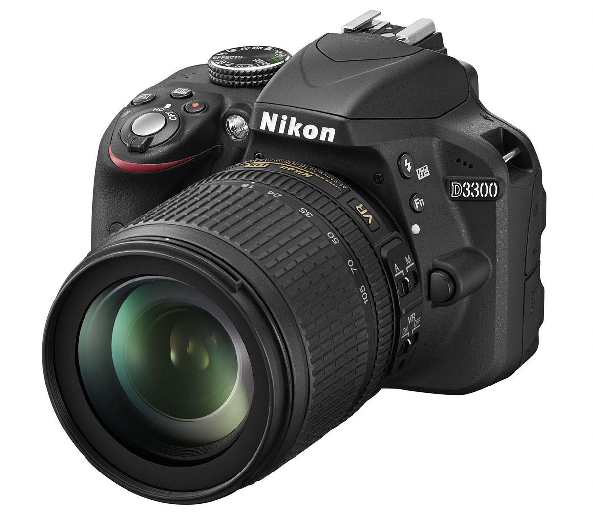 Nikon D3300 Kit 18-105 VR, Black цифровая зеркальная фотокамера nikon d3400 kit 18 105 vr vba490k003 цифровой зеркальный фотоаппарат black