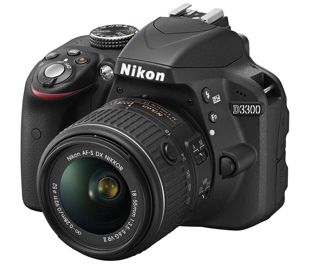 Nikon D3300 Kit 18-55 VR II, Black цифровая зеркальная фотокамераVBA390K001Мощная и простая в использовании цифровая зеркальная фотокамера Nikon D3300 с разрешением 24,2 мегапикселя имеет компактный корпус и небольшой вес. Ее удобно носить с собой, чтобы в нужный момент создавать незабываемые фотографии и видеоролики высокой четкости. Фотокамера D3300 оснащена матрицей с разрешением 24,2 млн пикселей, в конструкции которой не используется оптический низкочастотный фильтр (OLPF). Вы получите резкие и невероятно детализированные изображения даже при съемке текстур с мельчайшими деталями. Большая матрица способна запечатлеть мельчайшие детали с великолепной резкостью и демонстрирует превосходные результаты при слабом освещении. Диапазон значений от 100 до 12 800 единиц ISO (с возможностью расширения до эквивалента 25 600 единиц) позволяет передать все детали при съемке в темноте. В фотокамере Nikon D3300 на выбор предлагаются 13 эффектов, которые позволяют с легкостью создавать художественные фотографии и видеоролики....