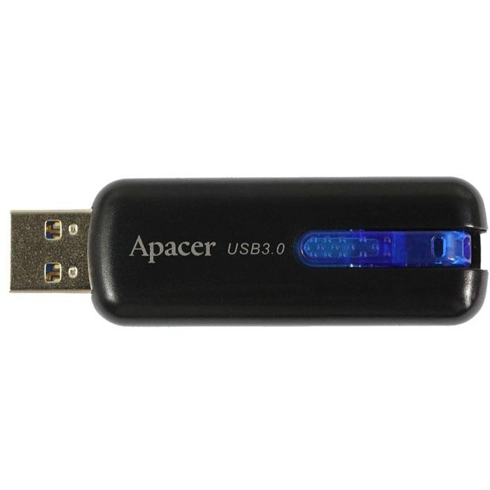 """Apacer AH354 16GB, Black USB флеш-накопительAP16GAH354B-1Благодаря спецификациям USB 3.0, вместимость самого объемного Apacer AH354 в рамках модельного ряда достигает 32 Гб. Эксклюзивная система """"U-Ring"""" идеально вписывается в дизайн новинки, сочетая в себе удобную систему крепления и скрытый выдвижной разъем. Ярко-синий цвет крепления приятно выглядит и притягивает взгляд."""