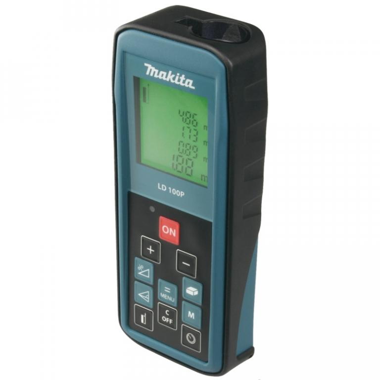 Дальномер лазерный Makita LD100P, 100 м80621Лазерный дальномер Makita LD 100 P предназначен для измерения расстояний, площади и объема. Дальномер оснащен большим четырехстрочным дисплеем. С помощью дальномера можно измерять расстояние по формуле Пифагора и величину угла. Прибор оснащен функциями разметки, сложения и вычитания измерений, запоминания вычислений и таймером задержки времени измерений. Питается от 2 батареек типа ААА.