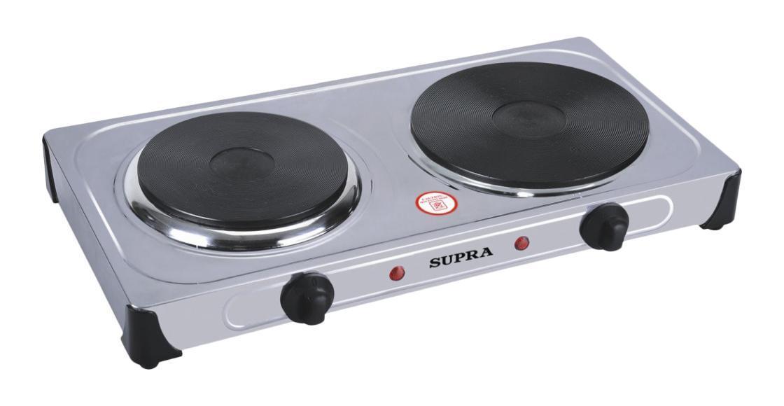 Supra HS-210, электроплиткаHS-210Настольная электрическая варочная плитка Supra HS-210 оснащена двумя мощными конфорками для быстрого разогрева и приготовления разнообразных блюд. Прибор имеет плавную регулировку температуры каждой конфорки и световую индикацию включения, а благодаря компактным размерам она станет незаменимым помощником на даче или небольшой кухне.