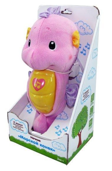 Жирафики Ночник морской конек муз.,подсветка, розовый, элементы питания входят в комплектМорской конек розовый