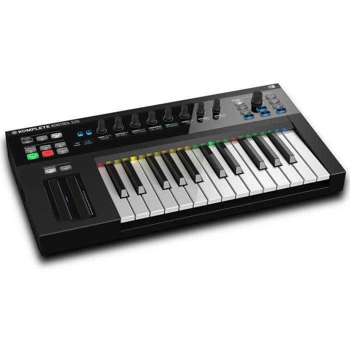 Native Instruments Komplete Kontrol S25 MIDI-клавиатураMCI52403Native Instruments Komplete Kontrol S25 - MIDI-клавиатура с 25 клавишами, которые имеют светодиодную индикацию. Устройство также имеет восемь вращаемых регуляторов и два сенсорных ленточных контроллера. Функция автоматического маппинга назначает все ключевые параметры инструмента на чувствительные кнобы. Инновационная подсветка подчеркивает переключатели, зоны и другие элементы управления в полном цвете, в зависимости от инструмента. Играть аккорды с отдельных клавиш или назначать всю клавиатуру - решаете вы сами. Создавать мелодии при нажатии кнопки с арпеджиатором теперь невероятно легко . Можно также изменять, закручивать и автоматизировать звуки как никогда раньше. Серия S была специально спроектирована под программное обеспечение NATIVE INSTRUMENTS Komplete 10 и NATIVE INSTRUMENTS Komplete 10 Ultimate - наимощнейшие инструменты для продакшн и саунд-дизайна.