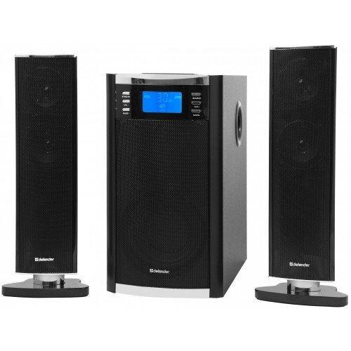 Defender Sirocco X65 Pro акустическая система 2.1Sirocco X65 ProSirocco X65 PRO - мощная универсальная акустическая система с MP3-плеером. Полноразмерная акустика. Система отлично подходит для воспроизведения музыки, звуковых эффектов игр и фильмов в комнатах площадью до 40 кв. метров. Деревянный корпус сабвуфера. Обеспечивает высокое качество звучания низких частот. Поддержка USB-накопителей и SD-карт (до 16 Гб). Благодаря встроенному MP3-плееру вы можете проигрывать музыку напрямую с различных цифровых носителей. Информационный дисплей на сабвуфере. На дисплее отображаются режим воспроизведения, трек, настройки громкости, тембра. Полнофункциональный беспроводной пульт ДУ. Вам придется подойти к вашей аудиосистеме только для того, чтобы подключить к ней источник звука. Регуляторы громкости и тембра НЧ на лицевой стороне сабвуфера. AUX-режим (подключение к источнику звука через аудиокабель).