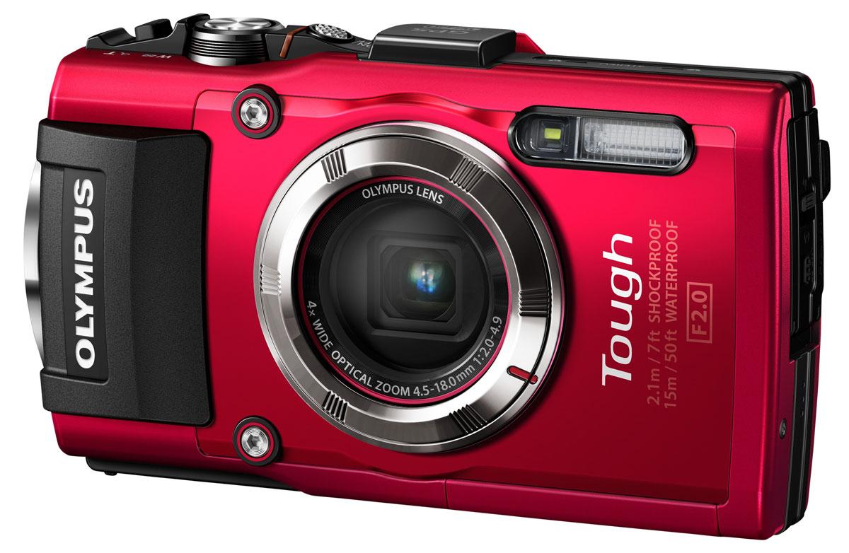 Olympus TG-3, Red цифровая фотокамераV104140RE000Компактная цифровая камера Olympus TG-3 - самая совершенная в серии TOUGH. При съемке вне помещений позволяет вам легко и просто делать фотографии лучших моментов. Добавьте сюда невероятную функциональность, отличную эргономичную форму для простого использования и высокотехнологичную начинку и вы получите TG-3, которая великолепно выглядит даже после активного использования. Цифровая камера TG-3 предлагает четыре различных улучшенных макро-режима, которые расширяют понятие макро-фотографии: Микроскоп и Контроль микроскопа, Совмещение фокуса и Фокус-брекетинг. Приблизьтесь к объекту съемки на расстояние до 1 см от объектива камеры, фокусируйтесь во всем диапазоне зума с безупречным увеличением. Высококачественные полноразмерные видеоролики, снимки и отпечатки можно создавать с разрешением до 16 Мпикс. Благодаря использованию КМОП-сенсора с обратной засветкой повышается качество снимков, уменьшается количество шума и улучшается детализация изображения, ...