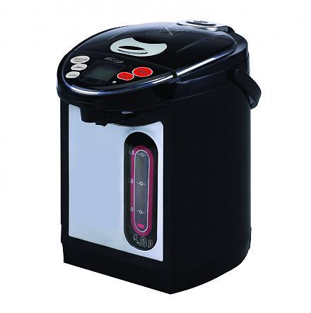 Brand 4404B, Black термопот4404BТермопот – это своеобразный гибрид чайника и термоса. Это японское изобретение позволяет кипятить воду и сохранять ее горячей в течение суток, а некоторые модели и неограниченное количество времени. Это позволяет не только в любой момент получить горячую воду, но и сэкономить электроэнергию, так как не нужно будет кипятить ее снова и снова. Температура воды в термопоте остается на уровне 95-98 градусов в течение пяти-шести часов после кипячения, а после – около 80 градусов. Разные модели термопотов обладают различными функциями. К примеру, практически все термопоты можно настроить на определенный температурный режим – для заваривания чая или кофе, приготовления детского питания и других целей. Термопот способен сохранять воду горячей долгое время и при этом не тратить электроэнергию за счет хорошей термоизоляции, которая сводит к минимуму потери тепла. Термопот при полном потреблении мощности требует около 0,7—0,8 кВт, что в несколько раз меньше, чем потребление мощности обычного...
