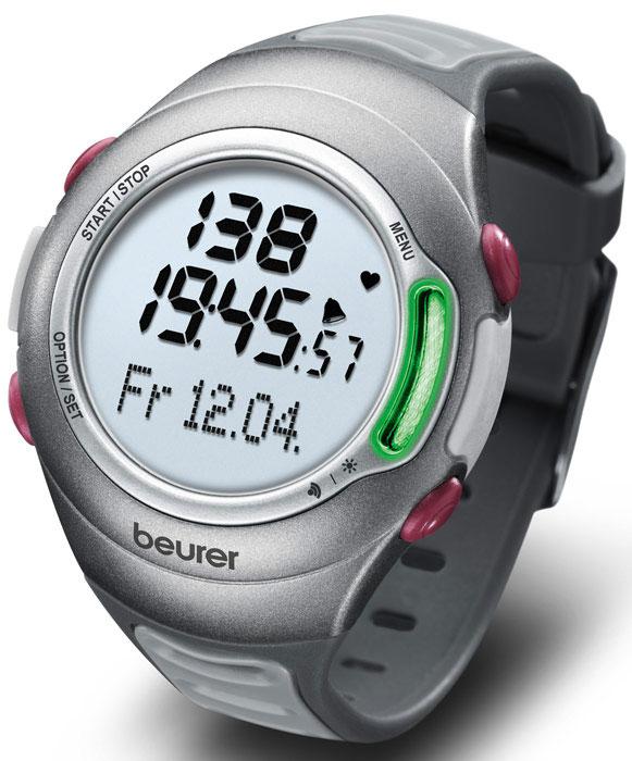 Пульсотахометр Beurer PM701092066В пульсометре Beurer PM70 с нагрудным ремнем используется цифровая технология передачи сигнала, возможно подключение прибора к ПК. Индикация расхода энергии и количества сожженного жира. Часы, календарь, секундомер и будильник. Благодаря различным вариантам настройки вы можете использовать вашу индивидуальную программу тренировок и контролировать пульс. Настройки прибора позволяют вводить данные о пользователе: рост, вес, пол, возраст. Прибор имеет акустическую и визуальную сигнализацию, которая информирует пользователя о выходе за пределы зоны тренировок. Процесс тренировки сопровождается миганием светодиода с частотой пульса. Пульсометр отображает среднюю частоту сердечных сокращений (Average), расход энергии в Ккал, сжигание жира в г/унциях. Так же Вы можете получить информацию о индексе физического состояния с интерпретацией, о максимальном объеме вдыхаемого кислорода, о расчетной максимальной частоте сердечных сокращений. ...