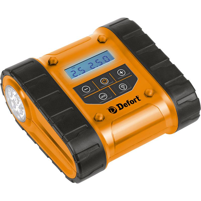 Компрессор автомобильный Defort DCC-300D98293951Автомобильный компрессор Defort DCC-300D применяется для накачки автомобильных шин, мячей, надувных матрасов, велосипедных шин и т.д. Компрессор оснащен манометром и штекером для подключения к 12-вольтовому разъему прикуривателя автомобиля. Особенности компрессора: - предустановка давления, - жидкокристаллический дисплей, - отсек для хранения проводов и шланга, - встроенный светодиодный фонарь, - морозоустойчивый ЖК-дисплей.