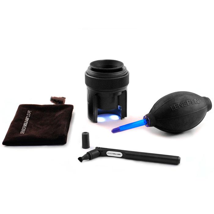 Lenspen SensorKlear Loupe Kit SKLK-1SKLK-1Чистящий набор SensorKlear Loupe Kit SKLK-1 предназначен для всех типов цифровых зеркальных фотокамер. Включает в себя: Карандаш для чистки матриц зеркальных цифровых фотокамер SensorKlear II Лупу с подсветкой для чистки матриц цифровых зеркальных фотоаппаратов SensorKlear Loupe Универсальную воздушную двухклапанную грушу с мягким наконечником Hurricane Blower