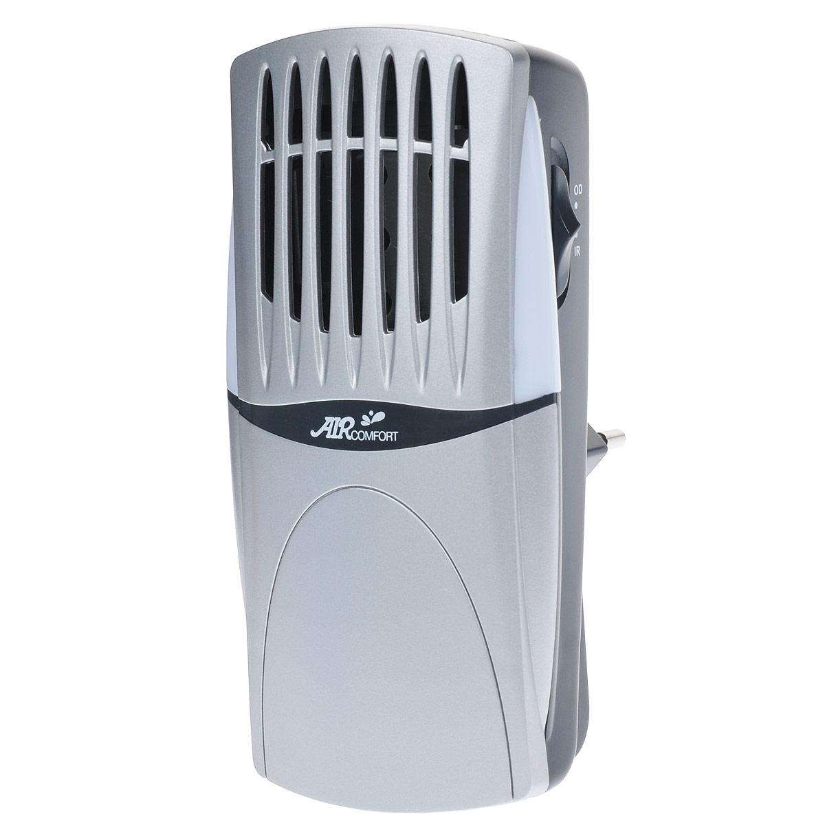 AirComfort GH-2160S воздухоочиститель00000000081AirComfort GH-2160S - идеальный освежитель воздуха и нейтрализатор запахов для ванных комнат, спален, гостиных, кладовых, стенных шкафов, лестничных клеток и других помещений небольшого размера. Электростатическая решетка задерживает самые мельчайшие загрязняющие частицы, содержащиеся в воздухе. Прибор имеет два режима работы: IR отрицательные ионы, OD активный кислород. Циркуляция чистого воздуха с запахом свежести обеспечивается электронным способом без движущихся деталей и шума. Чистый воздух несет с собой устойчивый поток очищающего озона, нейтрализующего запахи в самом начале их возникновения. Встроенный светодиод можно использовать в качестве ночного освещения. А беспроводной штепсель позволяет установить очиститель непосредственно в розетку. Образование отрицательных ионов: >=1х103/см3 Концентрация активного кислорода: < 0,05 ppm мг/м3