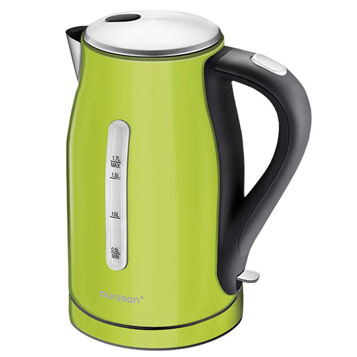Oursson EK1760M/GA, Green Apple электрочайникEK1760M/GA Green AppleЧайник EK1760M – это стильная яркая модель от компании Oursson. Он изготовлен из высококачественной пищевой нержавеющей стали, непритязателен в уходе и прекрасно выглядит, поскольку представлен в четырех ярких цветах.Чайник рассчитан на подогрев большого объема воды. Модель оснащена специальным фильтром, который не позволит накипи попасть в чашку. Чайник прост в эксплуатации, имеет высокий уровень безопасности и оснащен автоматическими системами защиты. Чайник просто не включится без необходимого количества воды, а также автоматически выключится после закипания воды. Корпус чайника свободно вращается на 360 градусов, что гарантирует удобство в эксплуатации. Эта модель для тех, кто ценит изящество форм и надежность.
