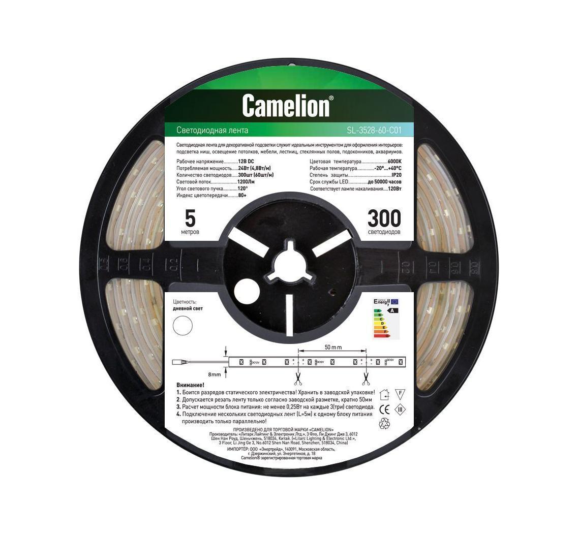 Camelion SL-3528-60-C01 светодиодная лента, 5 м, белый11108Светодиодная лента - это линейка светодиодов, закрепленных на гибкой основе. Светодиодные ленты бывают разной абсолютной длины (1 м, 3м, 5м, 7м), отличаются количеством светодиодов на 1 погонный метр (76 led / 108 led), цветностью светодиодов (одноцветные, многоцветные (RGB). Светодиодные ленты производятся разной степени защиты: для наружнего или внутреннего применения. Для питания светодиодных лент необходимы специальные блоки питания. Для управления цветом в RGB светодиодных лентах необходим также контроллер. Напряжение: 12 вольт