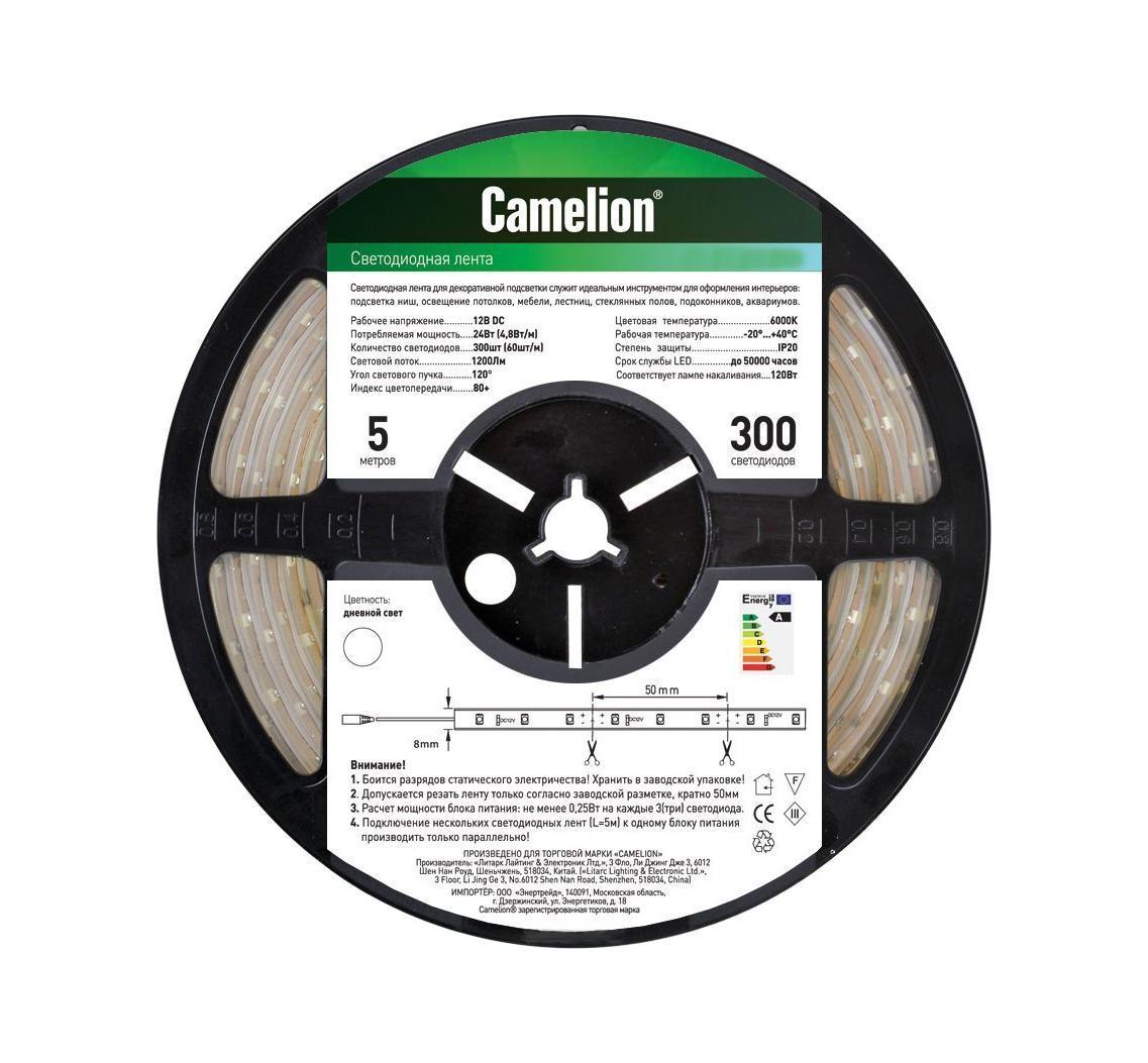 Camelion SL-3528-60-C01W светодиодная лента, 5 м, теплый белый11109Светодиодная лента - это линейка светодиодов, закрепленных на гибкой основе. Светодиодные ленты бывают разной абсолютной длины (1 м, 3м, 5м, 7м), отличаются количеством светодиодов на 1 погонный метр (76 led / 108 led), цветностью светодиодов (одноцветные, многоцветные (RGB). Светодиодные ленты производятся разной степени защиты: для наружнего или внутреннего применения. Для питания светодиодных лент необходимы специальные блоки питания. Для управления цветом в RGB светодиодных лентах необходим также контроллер. Напряжение: 12 вольт